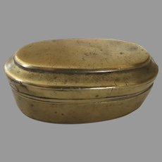19th Century BETEL NUT BOX with Compartments Brass Oval
