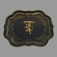Tole Shaped Large Tray with Hand and Stenciled Decoration Center Lion