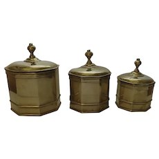 Set of Three (3) Graduating Canisters Boxes Hinged Lids English 19th Century