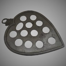 Early Pewter Egg Fruit Stand Holder Heart Shaped by I. B. Finck Country Kitchen