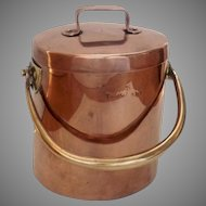English Copper Brass Swing Handle Cooking Stock Pot circa 1850
