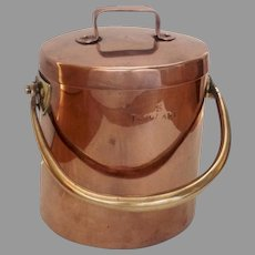 English Copper Brass Swing Handle Cooking Stock Pot and Lid circa 1850