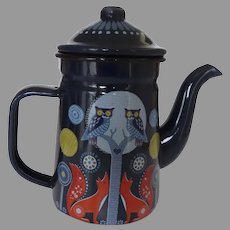 Folklore Small Coffee Pot Night Blue Tea Pot with Owls and Foxes