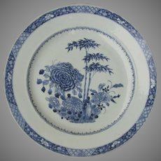 """18th Century Blue and White Chinese Charger 15"""" Peony"""