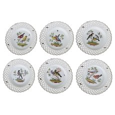 """6 x Meissen Reticulated Bird Insects Plates 9 1/2"""""""