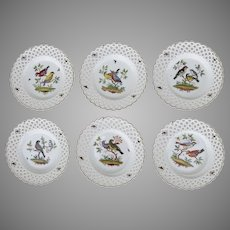 6 x Meissen Reticulated Bird Insects Plates 9 1/2""