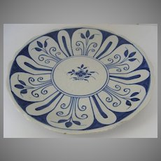 French Rouen Blue and White Plate
