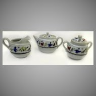 Vintage Child's Tea Set Three Piece Tea Pot Creamer Sugar