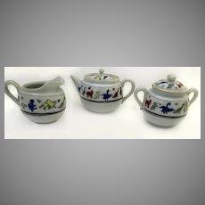 Vintage Child's Tea Set Three Piece Tea Pot Creamer Sugar