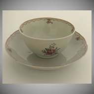 Chinese Export Cup and Saucer Famille Rose c1800