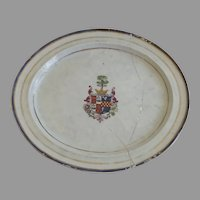 Large 18th Century Chinese Export Armorial Family Crest Oval Platter