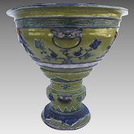 Very Large Chinese Urn Glazed Two Part Urn Pedestal Floral Figures Foo Dogs