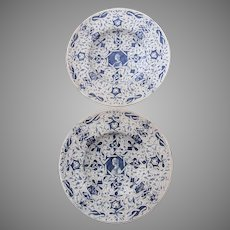 Pair of Large Italian Majolica Blue and White Chargers