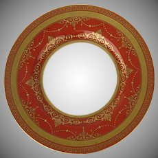 "Minton Rust Raised Gold Gilt10 1/2"" Dinner Plate"