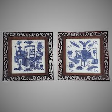 Pair of Large 19th Century Chinese Blue and White Tiles Antiquities Hardwood Rosewood Frames