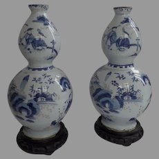 17th Century NEVERS Faience Baluster Gourd Vases in the  CHINOISERIE Taste