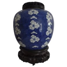 Chinese Blue and White Ginger Jar Form late 17th Century