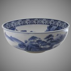 Japanese Blue and White Bowl c 1900