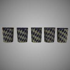 Set of 5 Vintage Reinhold Merkelbach Tumblers Glasses Cups Diamond Checker Board Pattern