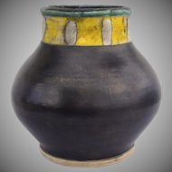 Large Art Pottery Vase Black Yellow