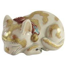 Vintage Kutani Cat Kitten Gilt Japan
