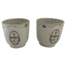 Chinese Export Cups Anchor Armorial Crest