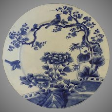 Large Blue and White Japanese Charger Bird Chrysanthemums