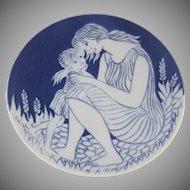 ROYAL COPENHAGEN MOTHERS DAY 1978  BLUE PORCELAIN PLATE Mors Dag