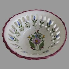 Vintage Reticulated Bowl Faience Made in Portugal
