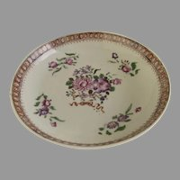 Charming 18th Century Chinese Export Small Dish Saucer with Border