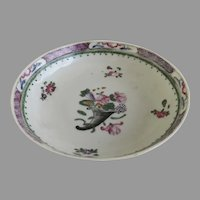 18th Century Chinese Export Small Saucer Dish Delicate Floral Cornucopia