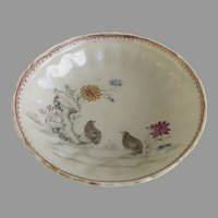Charming 18th Century Chinese Export Small Dish Saucer with Shaped Edge Two Quails