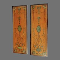 Pair of Neo Classical Hand Painted Satinwood Panels Architectural