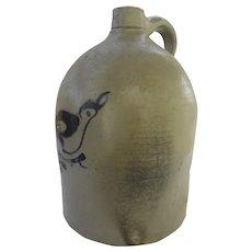 American Stoneware Salt Glaze Crock Jug Bird Motif Fulper Bros. N. J. 3 Gallon