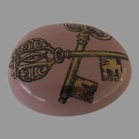 Vintage Piero Fornasetti Fornasetti Milano Gold Key Pink Paperweight