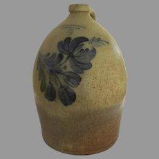 American Stoneware Salt Glaze Crock Jug Blue Motif T. Harrington Lyons