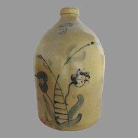 2 Gallon EVAN R. JONES PITTSTON, PA Stoneware Jug with Floral Decoration