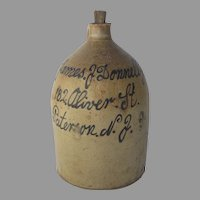 19th Century Large Stoneware Crock Jug 5 Gallon James J. Donnelly Paterson, New Jersey