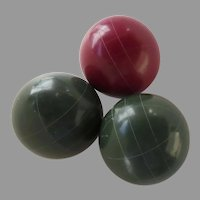 Vintage Green and Red Bocci Balls (3)