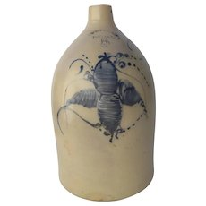19Th Century Stoneware Crock Jug West Troy Pottery 5 Gallon Blue Decoration Flower Bee Motif
