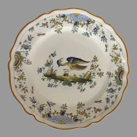 Vintage French Faience Plate with Bird