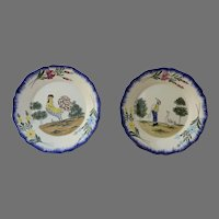 Pair (2) of Hand Painted Plates in Charolles Rooster and Boy with Duck fMade in France and Numbered Winter Theme