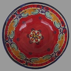 Vintage Large Hand Painted Mexican Pottery  Salad Bowl
