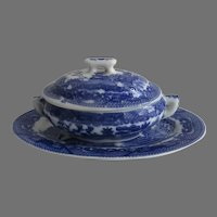 Vintage Child's Blue Willow Blue and White Covered Tureen and Underplate