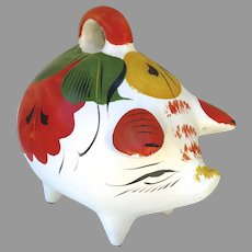 Huge Very Large Vintage Mexican Hand Painted Souvenir Piggy Bank Breakable Coin Bank