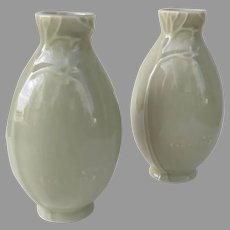 Pair Vintage Celadon KleinReid New York Porcelain Vase Tree Blossoms