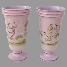 Pair of Vintage Vases by Alfonso Matteuzzi Pink Faience