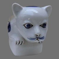 Vintage Chinese Blue White Cat Figure Pillow Head Rest
