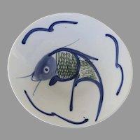 Vintage porcelain Koi Fish Plate Bowl