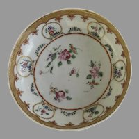 Charming 18th Century Chinese Export Small Dish Saucer with Gilt Border